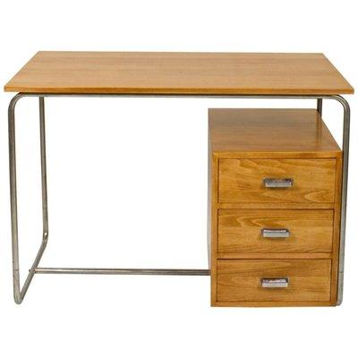 Vintage Bauhaus Desk In Beech And Tubular Steel 1930s 1