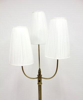 Vintage Three-Light Brass Floor Lamp, 1940s for sale at Pamono
