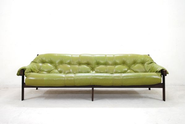 Ordinaire Model MP 041 Lime Green Leather Sofa From Percival Lafer, 1961 1