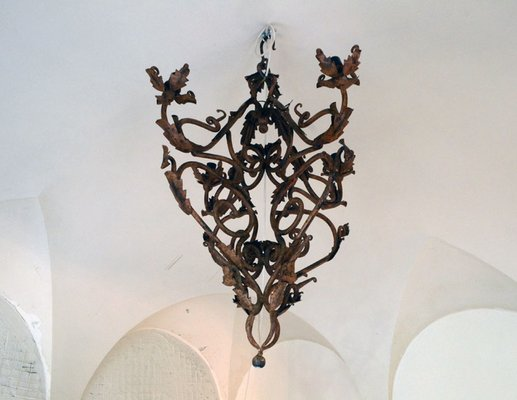 Hand made wrought iron chandelier 1800s for sale at pamono hand made wrought iron chandelier 1800s 2 aloadofball Gallery