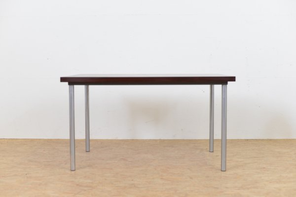 Mid Century Rosewood Table With Tubular Metal Legs, 1960s 2