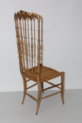 Sedia a schienale alto di Chiavari, anni \'40 in vendita su Pamono