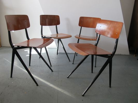 Mid Century Industrial Steel And Wood Chairs From Marko, Set Of 4 2