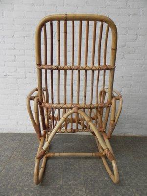Schaukelstuhl Vintage vintage bambus und rattan schaukelstuhl bei pamono kaufen