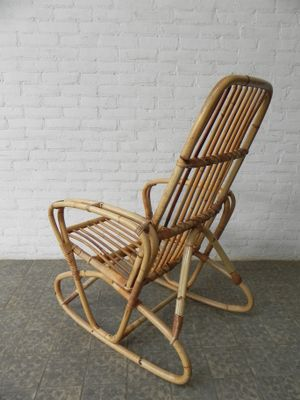 Vintage Bamboo And Rattan Rocking Chair 8