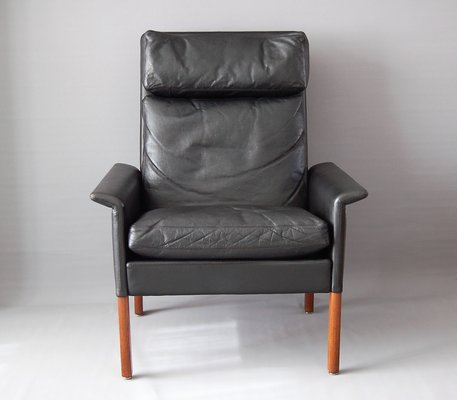 Vintage Black Leather Armchair By Hans Olsen For CS Mobelfabrik 1