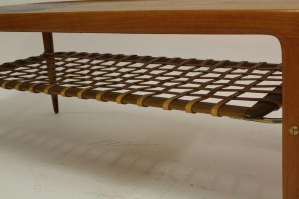 Vintage Danish Teak Coffee Table With Ceramic Tiles And Leather Magazine  Rack 2
