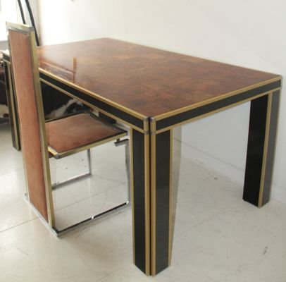 Vintage Italian Lacquer U0026 Walnut Dining Table By Willy Rizzo 8
