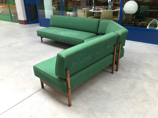 Mid Century Italian Green Modular Corner Sofa, 1960s 3