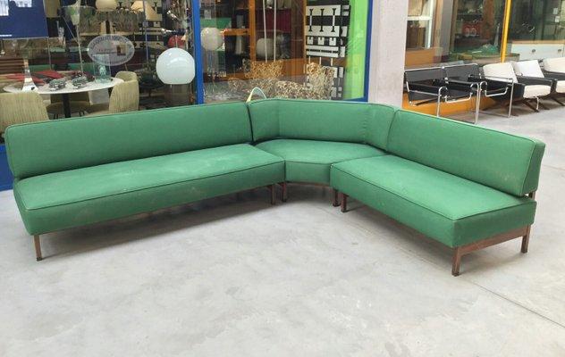Mid Century Italian Green Modular Corner Sofa 1960s 1