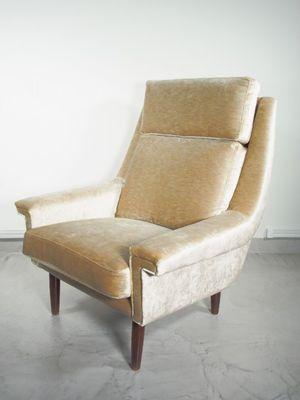Mid Century Danish Beige Velvet Armchair, 1950s 3