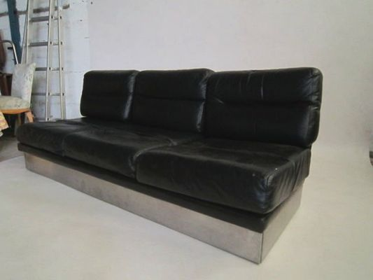 Vintage Leather Sofa And Pair Of Chairs By Jacques Charpentier For Roche Bobois 6