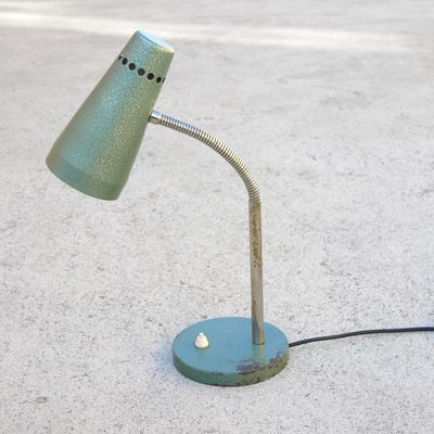 Green Industrial Gooseneck Desk Lamp, 1950s 1