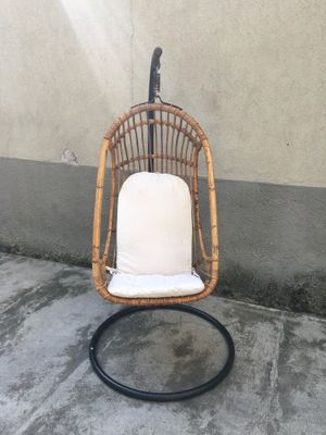 Mid Century Italian Rattan And Bamboo Hanging Chair, 1950s 2