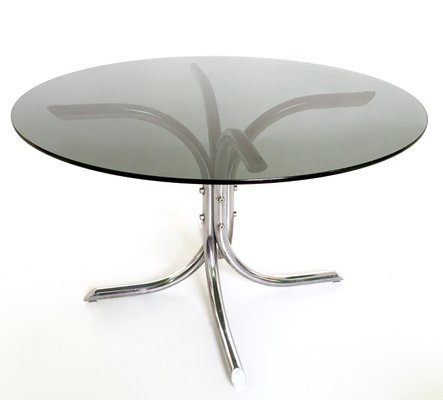 Italian Chromed Metal And Smoked Glass Dining Table, 1970s 1
