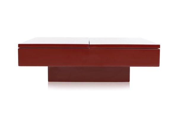 Tavolino da caffè con mobile bar e ante scorrevoli laccato rosso ...