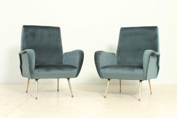Vintage Italian Velvet Armchairs With Brass Legs, 1950s, Set Of 2 1
