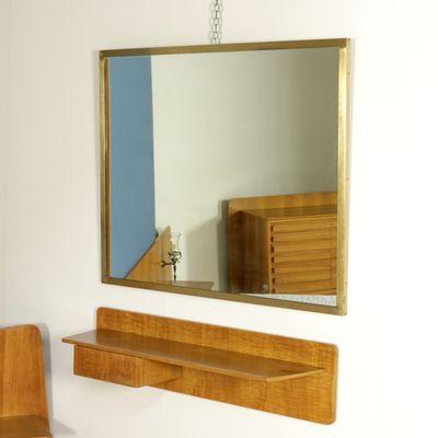 Console Murale avec Miroir en Placage Noyer et Laiton, 1960s en ...