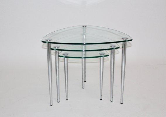 Mid century italian chrome and glass nesting tables 1960s for sale mid century italian chrome and glass nesting tables 1960s 2 watchthetrailerfo