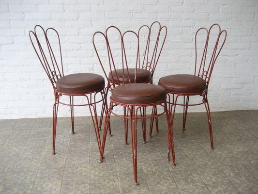 Sedie vintage in metallo con sedute in ecopelle in vendita su Pamono