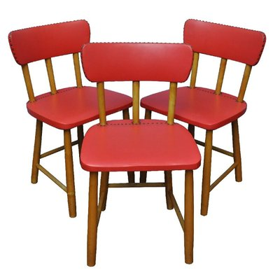 Captivating Red Swedish Chairs, 1950s, Set Of 3 1