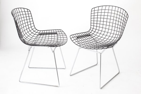 Vintage Wire Chairs With Black Seats U0026 Chromed Bases By Harry Bertoia For  Knoll, Set
