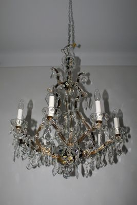 Crystal chandelier with candle bulb holders 1950s for sale at pamono crystal chandelier with candle bulb holders 1950s 1 mozeypictures Choice Image