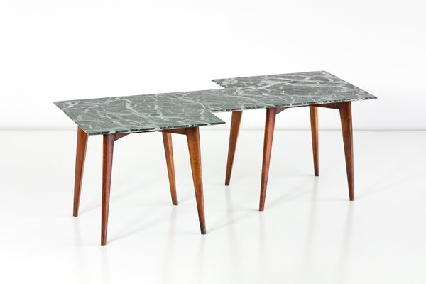Geometric Italian Coffee Table With Green Marble Top 1