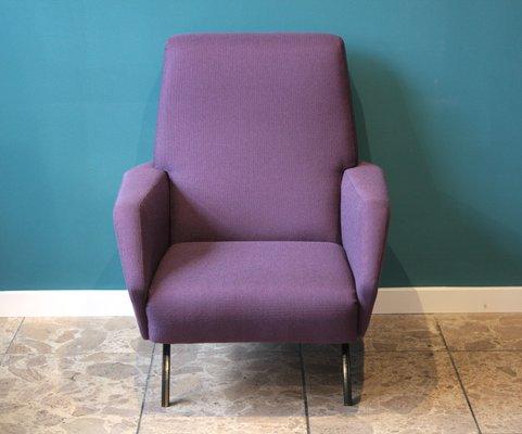 Vintage Italian Metal And Purple Armchairs, 1950s, Set Of 2 2