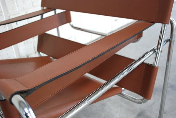 Vintage B3 Wassily Chair In Brandy Cognac Leather By Marcel Breuer For  Gavina 8