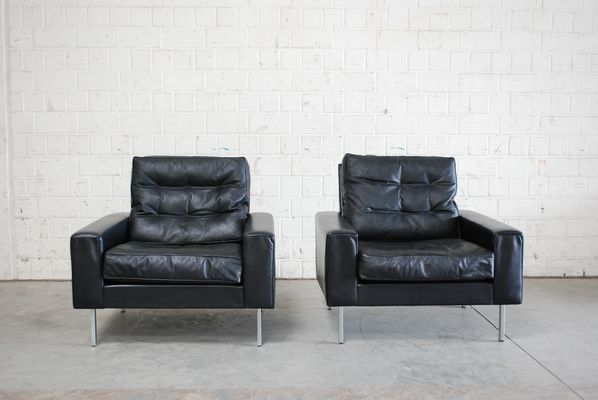 Vintage Black Leather Armchairs From De Sede, 1967, Set Of 2 28
