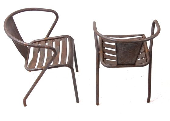 Amazing Vintage French FT5 Bistro Chairs By Xavier Pauchard For Tolix, Set Of 5 1