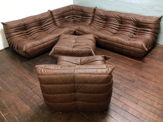 Vintage Togo Leather Living Room Set By Michel Ducaroy For Ligne Roset 3