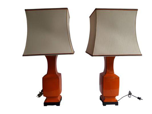 Vintage orange porcelain table lamps set of 2 for sale at pamono vintage orange porcelain table lamps set of 2 2 audiocablefo