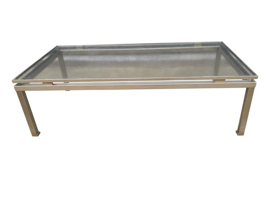 Modernist Brushed Steel Coffee Table By Guy Lefevre For Maison Jansen 1