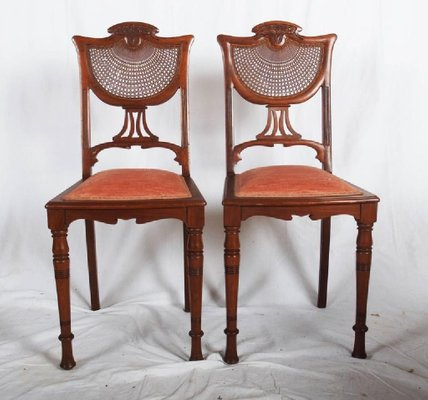 French art nouveau walnut side chairs 1900s set of 2 2