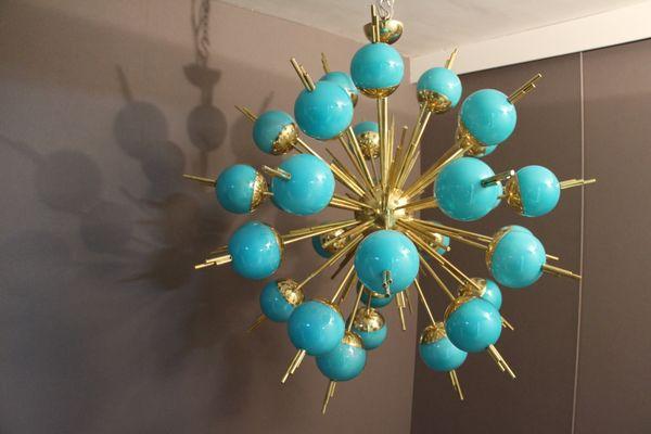 Turquoise glass globes and brass sputnik chandelier for sale at pamono turquoise glass globes and brass sputnik chandelier 1 aloadofball Image collections