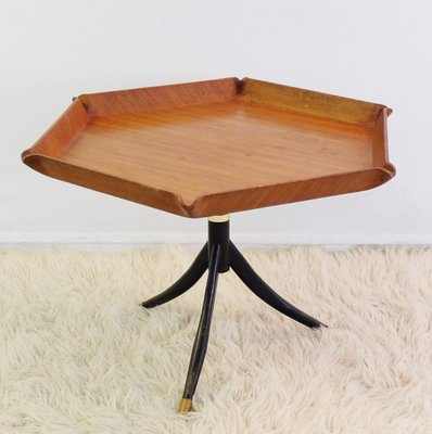 Italian Teak Hexagonal Coffee Table From Tura, 1950s 1