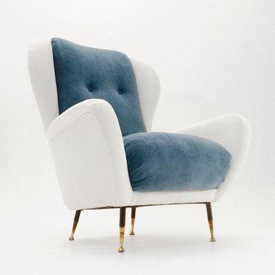 Italian Mid Century White And Blue Velvet Armchair, 1950s 1