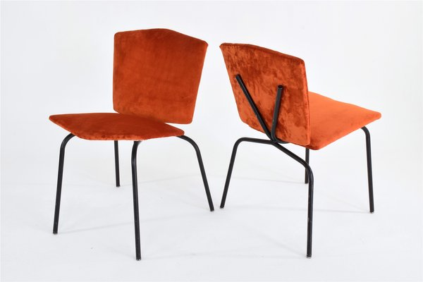 Mid Century French Velvet Chairs, Set Of 2 1
