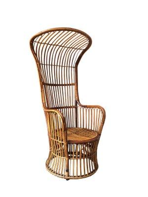 Italian High Back Rattan Woven Armchair From Bonacina, 1950s 1