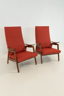 Mid Century Modern Red High Back Chairs, 1960s, Set Of 2 1