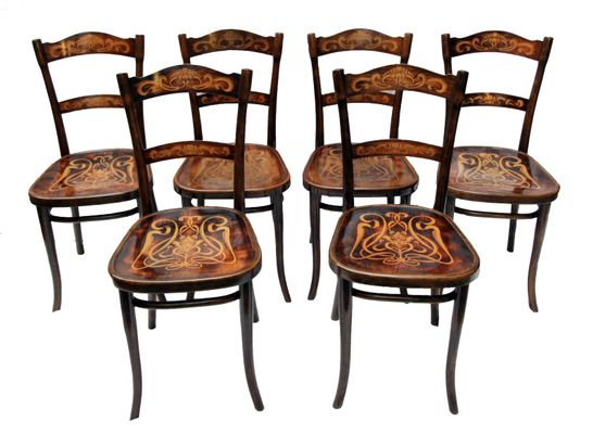 Antique Decorated Bentwood Dining Chairs From Thonet, Set Of 6 1