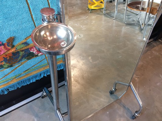 Vintage French Standing Mirror with Wheels for sale at Pamono