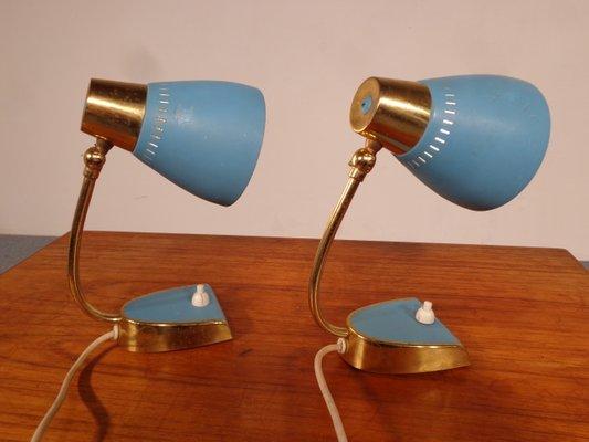 blaue mid century nachttischlampen 2er set 1 - Nachttischlampen