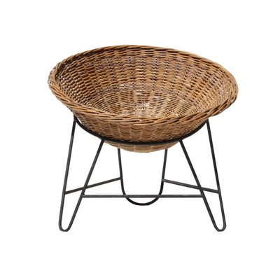 Mid Century French Rattan Basket Chair, 1950s 2