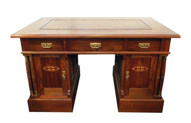 Antique Art Nouveau Writing Desk With Leather Surface 1