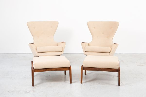 Vintage 2231 C Wingback Chairs With Ottomans By Adrian Pearsall For Craft  Associates, Set