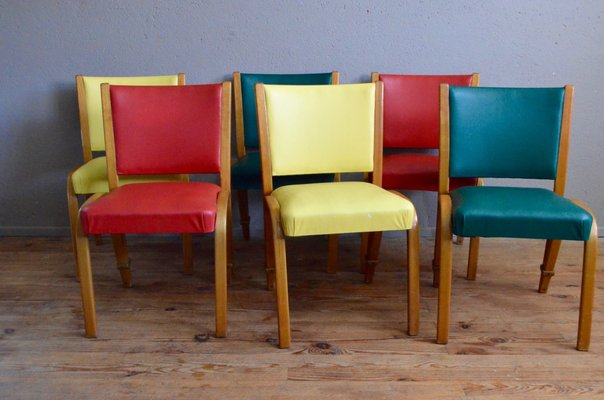 Colored Bow Wood Chairs By Wilhelm Von Bode For Steiner, 1950s, Set Of 6