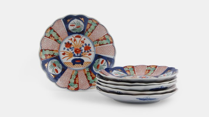 Small Antique Imari Plates Set of 6 1 & Small Antique Imari Plates Set of 6 for sale at Pamono